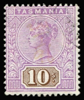 Lot 329 [1 of 2]:1892-99 Tablets Wmk TAS Perf 14 2/6d brown & blue mint and 10/- mauve & brown VFU. Both stamps with strong fresh colour and clean perforations all round.