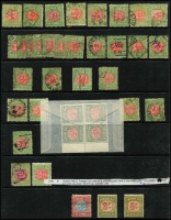 Lot 318 [1 of 2]:1850-1913 Collection including issues on piece and in multiples. Strong selection of Laurette issues, many with good margins and clear postmarks, and also includes Postage Dues. Interesting items are the 1905-13 1d rose-red Crown A Wmk on thin ready paper with CA Monogram on a lower left marginal strip of 4 SG #417c, and 1895 2/- Postage Due (MLH) with Inverted wmk SG D19. 1897 1d Charity mint, very minor crease. A good quality lot and also useful for varieties and postmarks. (100s)