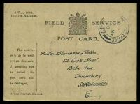 Lot 18057:1918 use of Field Service Postcard (115mm x 85mm) cancelled by double-circle 'ARMY POST OFFICE/?/16MY/18/S