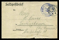 Lot 3172:1916 use of Field post letter cancelled by triple circle 'Loth?. Feldartl. Regts.33/BRIEF-/STEMPEL/??Batterie' (A1-) and bearing circular 'K.D.FELD-POSTEX[P ED]