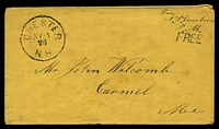 "Lot 3581:1850s use of plain envelope endorsed ""Free/A. S. Dearborn/P.M."" with straight-line 'FREE' (A-1) and bearing 'CHESTER/NOV26/N.H.' (A1-)."