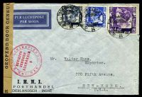 Lot 3299:1941 use of 1g violet, 30c blue & 15c ultramarine, cancelled with double-circle 'SOERABAJA/28.3.41.9/+++' (A1-), on I.H.N.I. Porthandel air cover to New York, with 'GEOPEND DOOR CENSUUR' label with red double-circle 'NED.-IND. DEVIEZENINSTITUUT/DEVIEZEN/CENSUUR/SOERABAJA/6' (A1), minor creasing to RHS, slightly reduced at base.