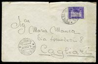 Lot 19182:1935 use of 50c violet, cancelled with double-circle 'POSTA MILITARE/8.7.35XIII/* NUMERO 98 *' (A1), on plain cover to Cagliari, includes letter in Italian, small closed tear at top & some light discolouration.