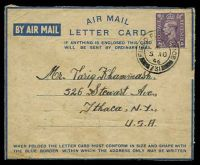 Lot 3529:1946 use of 3d violet, cancelled with 'FIELD POST OFFICE/*/5AU/46/731' (A1) of Haifa, Palestine on air mail letter card to Ithaca USA from the Arab Legion MEF, some light toning.