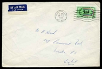 Lot 747:1962 use of 2/3d Empire Games, cancelled with Bentleigh East machine of 18DEC1962, on large plain cover to England.