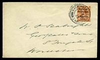 Lot 3219:1922 use of 2d orange with 5 line opt, cancelled with double-circle 'RATHMINES D.O. DUBLIN/415PM/7AP/33/3' (A1-), on plain cover to Worcester.