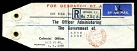 Lot 2629:1959 use of red double-circle 'LONDON F. S. O[FFIC]IAL PAID/615PM/4MR/59' (B2) on 'FOR DISPATCH BY A[IR]/ON HER M[AJESTY'S SERVICE]