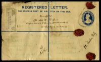 Lot 15972 [1 of 2]:Minhla: double-circle 'MINHLA/21FEB34/THARRAWADDY', Proud #KD7 on 2a + 1a blue KGV registration envelope, H&G #C5, uprated with 8a reddish violet, 3a blue & 1a3p purple, also bearing Minhla reg label & Kothamangalam arrival, extensive discolouration to reverse (stamped) side. [Rated 100 by Proud]  PO 1882; closed 1942