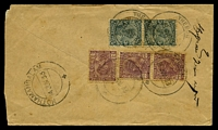 Lot 2719:Thegon: double-circle 'THEGON/8JUN33/+', cancelling 1a3p mauve x3 & 3p slate x2, on plain cover with Thegon reg label, backstamped with double-circle 'KOTHAMANGALAM/14JUN33/+' (A1), slightly reduced. [Rated 80 by Proud]  PO 18/3/1884; closed 1942