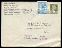 Lot 21629:1947 use of 20k olive & 2k light blue, cancelled with light 'WASHINGTON, D.C.3/JAN??/10PM/1947' (B1) machine on plain cover to Oakland, California, with 'This article originally mailed/in country indicated by po