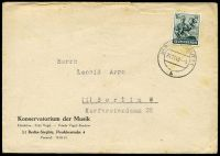 Lot 17556:1948 use of 16pf green, cancelled with double-circle 'BERLIN STEGLITZ1/24.11.48-9/b' (B1), on Konservatorium der Musik cover, small closed tear from opening, odd toned spot.