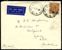 Lot 741:1937 5d brown KGV, cancelled with 'CAIRNS/11A27JA37/QLD' (B1), on Australian-Oriental Line cover to Ashfield, NSW.