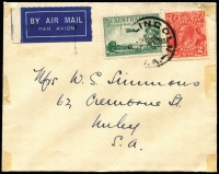 Lot 759:1935 Port Lincoln - Adelaide AAMC #559 3d dull green air & 2d red KGV, cancelled with 'P[ORT] LINCOLN/[?]15A25NO35/S