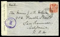 Lot 20271:1941 use of 4/- red arms, cancelled with 'WAIPUKURAU/19NO41 9/NZ' (B1), on plain cover to San Francisco, California, by air, sealed at left with 'Opened by Censor in New Zealand.' tape & bearing purple 'PASSED BY CENSOR N.Z./162' (B1), some mild creasing.