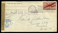 Lot 20738:1945 use of US 15c brownish red air, cancelled with 'PAGO PAGO/JUL3/4PM/1945/SAMOA' (A1) machine, on plain cover to Kansas City, Missouri, by airmail, sealed at left with plain brown tape & circular 'PASSED/BY CENSOR/American/Samoa' (A1) in blue.