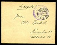 "Lot 20488:1917 use of stampless ""Feldpost!"" cover, cancelled with 'WARSCHAU/14.4.17.5-6N/**g' (A1), violet double-circle 'KAISERLICH DEUTSCHES POLIZEIPRASIDIUM/Brief-Stempel/WARSCHAU' (A2) in TRC, to Germany."