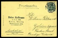 Lot 165 [2 of 2]:Germany: Holzermann sepia PPC of Crypt of St. Gereon XI, franked with 5pf green Germania, cancelled with 'COLN/23.4.13 5-6N/* 11 c' (A1-), to Bendigo, Vic.