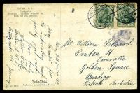 Lot 262 [2 of 2]:Germany: Farben-Photos coloured PPC of 'BERLIN/Lustgarten/Denkmal Friedrich Wilhelm III', franked with 5pf green Germania x2, cancelled with 'BERLIN NW/23.1.14 8-9N/*21e' (B1), to Bendigo, Vic, edge wear.