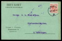Lot 16456:1916 use of 10ø red Christian X cancelled with 'KJØBENHAVN/8.11.16 8-9 8/K' (A2-), on postcard to Kleinschmalkalden, soiled right edge.
