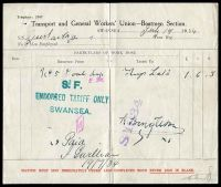 Lot 15:Great Britain: 'Transport and General Workers' Union - Boatmen Section' 'work done' report for Swansea July 19 1934, vertical crease.