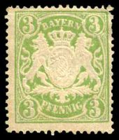 Lot 17167:1888-1900 Arms Wmk Close Horizontal Wavy Lines Mi #54B 3pf yellow-green, yellowish paper, Cat €13, some slight toning.