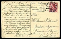 Lot 98 [2 of 2]:Germany: Hölzermann sepia PPC of 'Köln a. Rh.', franked with 10pf red Germania, cancelled with double-circle 'COLN/23.4.13 6-8N/*11c' (A1), to Bendigo, Vic, light vertical crease at right.