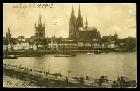 Lot 98 [1 of 2]:Germany: Hölzermann sepia PPC of 'Köln a. Rh.', franked with 10pf red Germania, cancelled with double-circle 'COLN/23.4.13 6-8N/*11c' (A1), to Bendigo, Vic, light vertical crease at right.