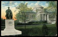 Lot 580 [1 of 2]:United States of America: E.A. Bishop coloured PPC of 'Lincoln Monument/and the Simmons Library,/Kenosha, Wis.', cancelled with 'KENOSHA/MAR12/7PM/WIS. - 1911 - 4' (A1-) duplex, to Bendigo, Vic.