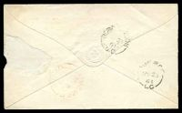 "Lot 3238 [2 of 2]:1861 envelope, cancelled with 'MINDEN/U.C.' (A1-), bearing straight-line 'PAID ""5 cents""' (A1), backstamped with 'BOBCAYGEON/MY21/61/U.C' (C1), red 'OMEMEE/MY22/1861"