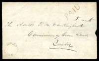"Lot 3238 [1 of 2]:1861 envelope, cancelled with 'MINDEN/U.C.' (A1-), bearing straight-line 'PAID ""5 cents""' (A1), backstamped with 'BOBCAYGEON/MY21/61/U.C' (C1), red 'OMEMEE/MY22/1861"