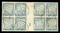 Lot 16996:1893 New Colours SG #D73 5c light blue, gutter block of 8 with sheet number '3', some toning. calncelled in Tahiti