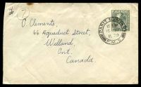 Lot 3803:1939 use of 8c grey, cancelled with double-circle 'PARIT BUNTAR/10AM/15AP/1939/F.M.S.' (A1-) on cover to Welland, Canada, slight toning at top edge.