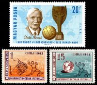 Lot 12 [3 of 3]:1962 World Cup Soccer: Chile 5c green, Albania set of 2 & Hungary 20f Jules Rimet & m/s.