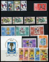 Lot 1:1966 World Cup Soccer: GB set of 3 + Winners opt, Fiji set of 2, Grenada set of 2, Dubai set of 5, CTO, Maldive Islands 2l, Panama set of 5, CTO & Romania m/s.