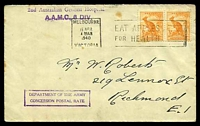 Lot 769:1940 use of ½d roo x2, cancelled with 'MELBOURNE/15APR/430AM/1940/VICTORIA - EAT APPLES/FOR HEALTH' (A1-) machine, on cover to Richmond, with straight-line '2nd Australian General Hospital/A.A.M.C., 6 DIV.' (A1-) in purple & boxed 'DEPARTMENT OF THE ARMY/CONCESSION POSTAL RATE' (A1) in purple, some mild tone spots.