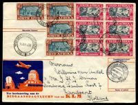 Lot 19933 [2 of 2]:1938 Netherlands - South Africa - Netherlands commemorative cover franked with 50c vermilion, 30c green & 12½c blue Airmails & 30c purple, cancelled with light double-circle 'AMSTERDAM CENTR. STATION/5XII 20/13/1938', with cart design 'NEDERLAND - ZUID-AFRIKA/AMSTERDAM 6 DEC 38/EEUWFEEST DINGAANSDAG' (A1-) cachet in purple, reverse of cover franked with South African 1½d blue-green & brown x4 & 1d blue-grey & pink x6 Voortrekker Commemorations, cancelled with double-circle 'VOORTREKKER MONUMENT/15XIIA38/PRETORIA' (A1) wih poor Amsterdam arrival of 31XII38, some slight toning.