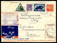 Lot 19933 [1 of 2]:1938 Netherlands - South Africa - Netherlands commemorative cover franked with 50c vermilion, 30c green & 12½c blue Airmails & 30c purple, cancelled with light double-circle 'AMSTERDAM CENTR. STATION/5XII 20/13/1938', with cart design 'NEDERLAND - ZUID-AFRIKA/AMSTERDAM 6 DEC 38/EEUWFEEST DINGAANSDAG' (A1-) cachet in purple, reverse of cover franked with South African 1½d blue-green & brown x4 & 1d blue-grey & pink x6 Voortrekker Commemorations, cancelled with double-circle 'VOORTREKKER MONUMENT/15XIIA38/PRETORIA' (A1) wih poor Amsterdam arrival of 31XII38, some slight toning.