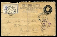 Lot 3127 [1 of 2]:Field Post Office double-circle 'FIELD POST OFFICE/+/7AP/16/D.20' (Somme area, France), on 2d black KGV Registration Envelope with blue registration label, to Holborn, GB, with hexagonal 'PASSED/FIELD/CENSOR/[crown]/1100' (A1-) in purple, some damage on reverse.