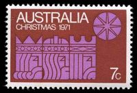 Lot 2341:1971 Christmas BW #573da 7c mauve & rust, with Retouch in rust left of 'AU' of 'AUSTRALIA' - State II [RP5/2], Cat $35, some light toning.