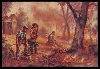 Lot 46:Australia - Artist: coloured reproduction PPC of 'THE ENEMY. From the Australian Bushfire Series'.