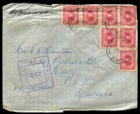 Lot 2510 [1 of 2]:Div. H.Q. P.O. 'DIV. H.Q. P.O./28NO40/D.M.1' (Ikingi Mariut, Egypt), on 10m carmine x7, on cover to Manly, NSW, with double-boxed 'PASSED BY UNIT CENSOR/217' (A1-) in purple, edges worn, some slight toning.
