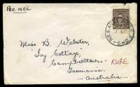 Lot 755:Aust Base P.O. 'NO.8. AUST BASE. P.O./27AP50/C' (Kure, Japan) on 3d brown KGVI, on cover to Campbelltown, Aust, some light toning.