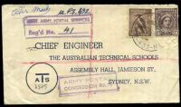 Lot 774 [1 of 4]:Aust Unit Postal Stn 'AUST UNIT POSTAL STN/29JY45/432' (A1- backstamp, Atherton, Qld) on 6d Kookaburra & 1d purple-brown QE on Australian Technical Schools cover, with boxed 'AUST. ARMY POSTAL SERVICES/Reg'd No. __' (B1) in purple & boxed 'ARMY POSTAL/CONCESSION RATE' (A1) in purple, some light toning, small closed tear on front.