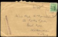 Lot 744:1946 use of 4d Koala, cancelled with 'DARWIN/??JE46/N T.', on cover to East Kew, Vic, with straight-line 'Department of the Army/C