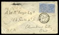 Lot 21557 [1 of 2]:1892 use of 2½d bright blue pair, cancelled with light 'TUNAPUNA/A/SP22/92/TRINIDAD' (C1), on cover to Columbus City, with 'PORT·OF·SPAIN/A/SP23/92/TRINIDAD' (B1) transit & 'COLUMBUS, OHIO./OCT4/5AM/92/REC'D.' (A1-) arrival backstamp.