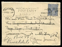 Lot 738 [1 of 2]:1931 use of 3d blue KGV machine cancelled Melbourne 24NO31, addressed to Samoa and re-directed to Philadelphia, USA.