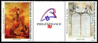 Lot 16162:1989 Philex France '89 SG #1346-7 200fr & 300fr pair and label.