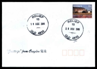 Lot 4027:15: 2 strikes of 38mm 'RELIEF/15/16DEC2009/QLD 4810' on 55c on unaddressed cover, 'Greetings from Croydon N.Q.' handstamp.