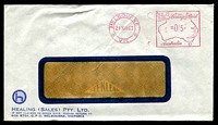 Lot 728:Healing (Sales) Pty. Ltd. small logo on window-faced cover cancelled with 21 Dec 1963 Melbourne meter.