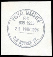 Lot 9435:236 Bourke Street: WWW #310 double-circle 'POSTAL MANAGER/PH:/639 1935/21MAR1994/236 BOURKE ST.' (ERD).  Replaced Russell Street PO c.-/11/1992; replaced by Little Bourke Street PO 8/8/1994.